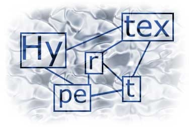 The word hypertext is broken into sections each enclosed in a box which is linked to another box by a line creating a web